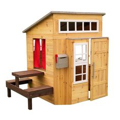 Order the KidKraft Modern Outdoor Wooden Cubby House from Swing and Play! Now that is one fancy house! The KidKraft Modern Outdoor Playhouse is packed with imaginative features, allowing kids Kids Indoor Playhouse, Backyard Playhouse, Build A Playhouse, Wooden Playhouse, Kids Outdoor Playhouses, Playhouse Windows, Outdoor Toys, Casas Club, Shed Plans