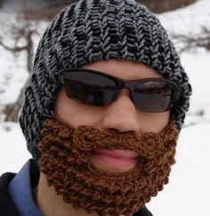 Bearded Beanie designed by Taraduff is a crocheted cap that comes with a built-in beard.
