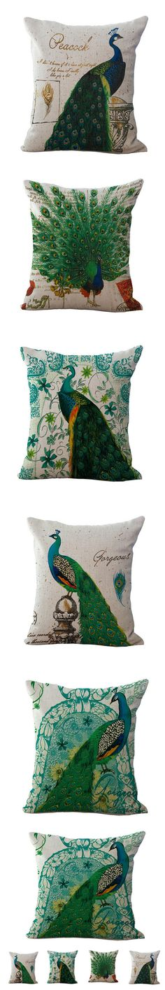 2017 New Peacock Animal Pattern Cotton and Linen Pillow Office Home Cushions Cover Pillow Decorative Bed Pillow Almofada