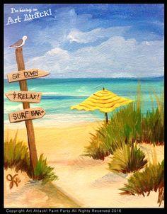 Beach Sign. Original artwork by Julie Kukreja. Art Attack! Paint Party www.artattackpaintparty.com
