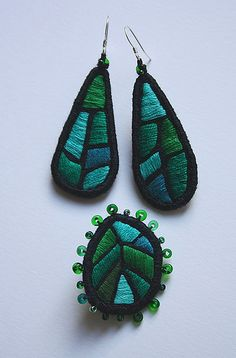 """Jewellery Set """"Emerald leaves"""" 