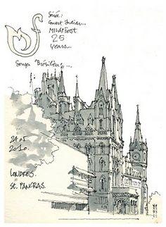 Urban Sketchers: 3 days in London. Art Et Architecture, Travel Sketchbook, Nature Sketch, Building Illustration, Artist Journal, Urban Sketchers, Sketchbook Inspiration, Watercolor Sketch, Moleskine
