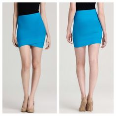 """NEW BCBGMaxazria bodycon Silvie power skirt new with tags. Color accurate in first photo. Vibrant blue. Rayon/nylon/spandex. Machine wash. This was a floor model, so there are a couple TINY little pulls in fabric (last pic). NOT AT ALL noticeable unless inspected EXTREMELY closely. Price firm. Super cute! Length 16"""". Very stretchy. Waist across is 11.5"""" but stretches more when worn. High-rise waist, form-fitting shape hug you in all the right places, while crisscross detailing at hem adds a…"""