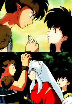 "InuYasha isn't too happy koga calls kagome ""his woman"" XD"
