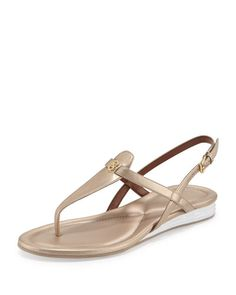 X34FC Cole Haan Violette II Leather T-Strap Sandal, Soft Gold