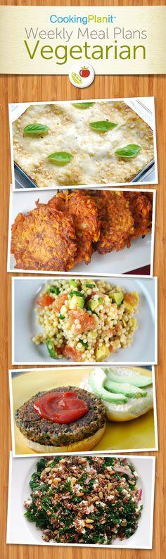Vegetarian Meal Plans Bulgur Black Bean Burgers Kale and Feta Quinoa Pearl Couscous with Grapefruit and Avocado Sweet Potato Latkes Pesto Lasagna