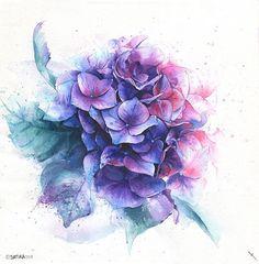 Watercolor blue violet pink and purple flower bouquet on wh&; Watercolor blue violet pink and purple flower bouquet on wh&; Violet Flower Tattoos, Purple Tattoos, Purple Flower Bouquet, Blue And Purple Flowers, Pink Purple, Hydrangea Tattoo, Purple Painting, Painting Art, Paintings