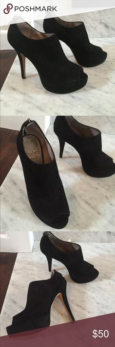Vince Camuto , peep toe heels Vince Camuto peep toe heels.  Black suede or suede like material. Size 6 1/2 or 36 1/2.  Very nice condition, comes preowned with minimal signs of wear.  No box.  Has a 1 inch platform and about a 4 inch heel. Vince Camuto Shoes