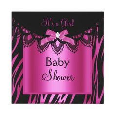 Pink black shoes pink zebra baby shower invitation baby girl girl baby shower zebra hot pink black custom invite by zizzago filmwisefo