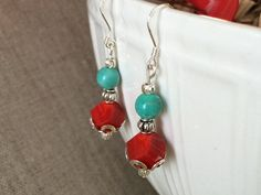 Red Glass Earrings Turquoise Earrings Dangle by CotonLilyCreations