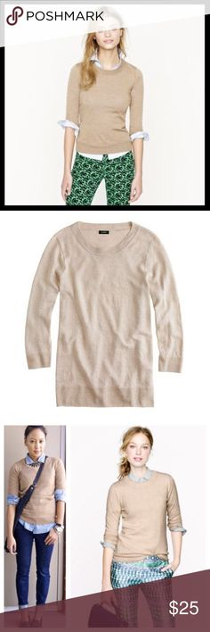 """j. crew // merino wool oatmeal tan tippi sweater The sweater you'll wear with almost everything. It's soft, flattering and layers well—so you can totally justify buying several. 100% merino wool. Three-quarter sleeves. No holes or stains but there is faint pilling and the sweater feels just the teeniest bit shrunken. Seems between an XS and a small. Bust measures 16"""" across lying flat. Length is 23"""" from top of shoulder. Color is heathered oatmeal. J. Crew Sweaters Crew & Scoop Necks"""