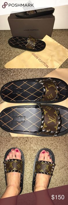 Monogram slides sandals shoes US size 7.5 Bran New Never Worn comes with box and dust bag size 39 fits more like a US 7.5 smoke free home designer inspired this are NOT AUTHENTIC Shoes Sandals