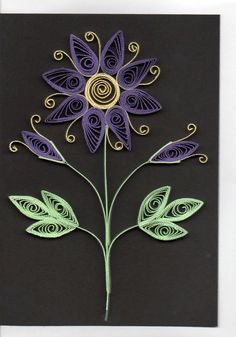 Quilled purple flower card.   Handmade greetings card.