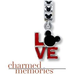A delightful addition to your Charmed Memories bracelet, this sterling silver dangle charm features the iconic Micky Mouse design incorporated into the word Love. Red and black enamel add colorful contrast. Disney