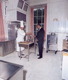 Chef Rene Verdon and butler John Ficklin in Jackie Kennedy's first family kitchen in 1961