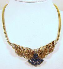 Vintage 1940 Boucher Sapphire Rhinestone Necklace Phrygian Cap