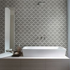 Ca'Pietra Cement Encaustic Trellis Pattern Tile - Flooring from Period Property Store UK Trellis Design, Lattice Design, Trellis Pattern, Bathroom Wall Cladding, Terrazzo Tile, Cement Tiles, Tiling, Wall Tiles, Black And White Tiles