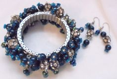 Wide Cha Cha Expandable Blue& Rhinestone Beads with Matching Earrings OOAK #Unbranded