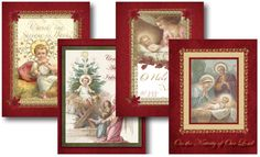 Catholic Christmas Cards, featuring the Infant Jesus lying in the manger, the Infant Jesus guarded by the Holy Angel and the Holy Family- St. Joseph, the Blessed Virgin Mary and the Infant Jesus on the Navitiy of Our Lord. Includes truly Catholic greetings inside and out with the traditional red, green and gold accents. INCLUDES FREE TYPEABLE MATCHING STATIONARY