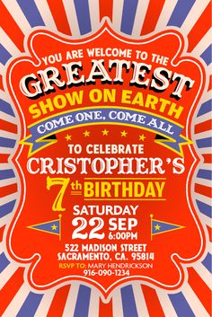 The Greatest Show On Earth! Party invitation for instant download at #etsy shop 'Ideas2Print' #partyprintables #party #circus #circusparty #vintage #vintagestyle #vintageposter