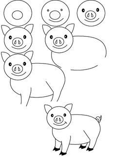 Свинка basic drawing, step by step drawing, drawing for kids, drawing lessons, Drawing Lessons, Drawing Techniques, Art Lessons, Doodle Drawings, Animal Drawings, Easy Drawings, Drawing For Kids, Art For Kids, Basic Drawing