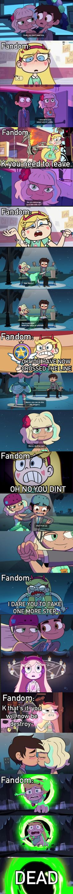 The fandom right now. Personally, I LOVED the fact that Marco and Jackie finally got to go out. Will the end up together? Probably not because of the Blood Moon binding their souls and whatnot and the box thing from the slumber party basically telling us Star's true feeling for him. All we can do right now is see where it goes from here.