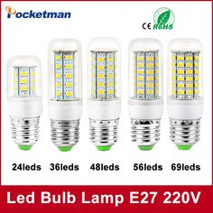 1Pcs E27 E14 LED Corn Bulb 220V 110V SMD5730 LED lamp Spotlight 24LED 36LEDs,48LEDs,56LEDs,69LEDs Fo-  Item Type: LED Bulbs  Brand Name: POCKETMAN  Beam Angle(°): 180°  LED Chip Brand: Edison  Average Life (hrs): 50000  Base Type: E27  Shape: Annular  Voltage: 220V  LED Chip Model: 5730  Certification: CCC,CE,RoHS  Power Tolerance: 2%  Number of LED Chip: 36 pcs  Color Temperature: Cool White(5500-7000K)  Occasion: living room  Led Bulb Type: Corn Bulb  Length: 79mm -   Related: 1Pcs #E27…
