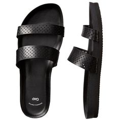 Gap Women Factory Two Strap Slide Sandals ($31) ❤ liked on Polyvore featuring shoes, sandals, strappy sandals, gap sandals, black sandals, strappy shoes and slide sandals