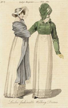 London Fashionable Walking Dresses, The Lady's Magazine, 1812.