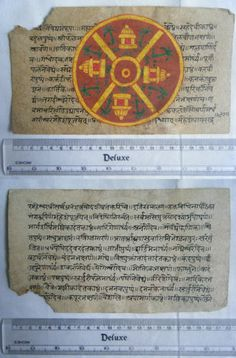 Rare Original Antique Old Manuscript Jain Cosmology New Hand Painting India#647