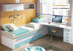 Camas compactas con cama desplazable : Juvenil con compacto bicolor Up 16