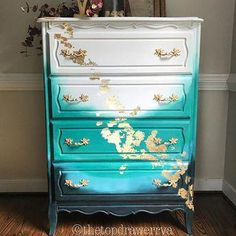 50 Beautiful Furniture Makeover Ideas Using Paint - Art Modern Funky Painted Furniture, Refurbished Furniture, Paint Furniture, Repurposed Furniture, Home Decor Furniture, Furniture Makeover, Vintage Furniture, Furniture Decor, Gold Leaf Furniture