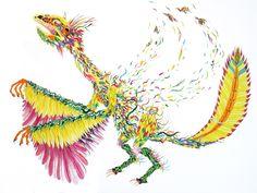 il giorno in cui il protarchaeopteryx sogno di librarsi 50x70cm  watercolor on paper  2014