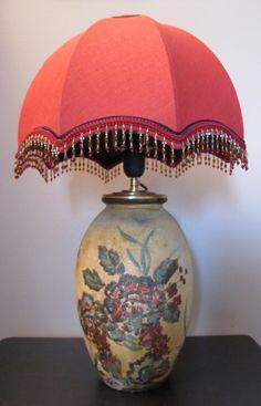 lampe Dôme en lin rouge oriental de la boutique ATELIERDUPAVE sur Etsy