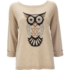 Stone Owl Knitted Sweater (£17) ❤ liked on Polyvore featuring tops, sweaters, shirts, blusas, stone, panel shirt, owl sweater, owl shirt, shirts & tops and brown tops