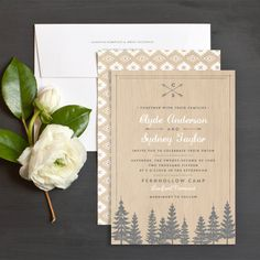Vintage summer camp themed invite. Love the wood textured background and monogram.