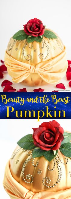 DIY Disney Belle Pumpkin : DIY Beauty and the Beast Belle Pumpkin – how to make a Disney princess Belle Pumpkin inspired by her beautiful dress and The Enchanted Rose. Disney Diy, Deco Disney, Disney Crafts, Disney Princess Crafts, Disney Princess Costumes, Enchanted Rose, Enchanted Princess, Disney Halloween, Halloween Party