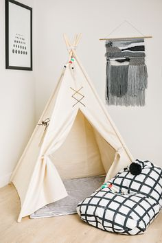 Keep it natural with Amity. x Base Teepee Height X Inside Pocket -Front Leather Lacing -Roll-up Window with Leather Straps X Pine Poles -Drawstring Canvas Storage Bag Natural Cotton Canvas Beach Tent, Kids Decor, Home Decor, Design Lab, Play Houses, Kids Furniture, Hanging Chair, Playroom, Nursery Decor