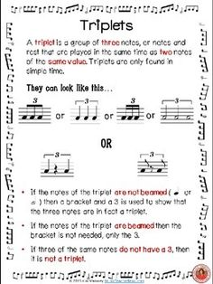 FREE Download.           TRIPLETS in Music - Anchor Chart  ♫ This is a one page FREE download!   ♫ Print one for each student to keep in their music note book for reference/revision OR print off one copy, laminate and display it in your music classroom/studio.     #musiceducation                 #musedchat