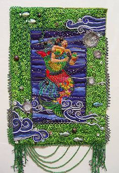Laurels Mermaid quilted and beaded fabric journal