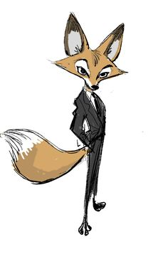 "I feel very lucky to have my name on the credit for this great movie ""Zootopia""!These drawings are very early concepts I did almost 5 years ago when the movie was called ""Savage Seas"". Nick Wilde was a 007 kind of character."