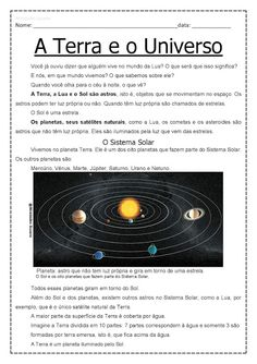 3º ano A Terra e o Universo EM PDF | Atividades Pedagogica Suzano Learn Portuguese, Astronomy, Science, Learning, School, Earth Science Activities, Geography Activities, Learning Activities, Biology Teacher