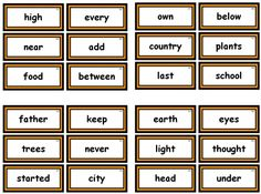 Free Printable Fry List Sight Word Cards.