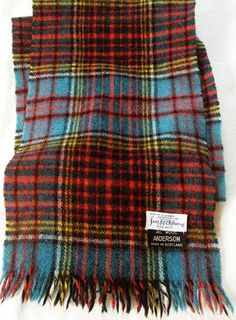 Vintage Wool Plaid Scarf, Anderson Tartan  1960's  Made in Scotland by KohnDesigns, $49.00
