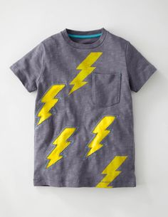 Mini Boden -Reverse Appliqué T-shirt in slate/bolts- boys