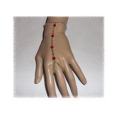 Red Silver Plated Finger Bracelet by DesignsByCherrae on Etsy, $20.00
