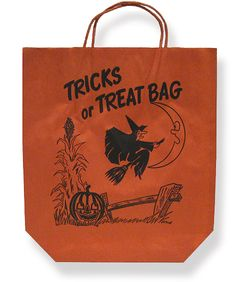 Vintage Halloween Treat Bag ~ Tricks or Treat Bag Made by the Interstate Bag Co., circa 1950's. ~ Flying Witch with Cornstalk and Jack O' Lantern