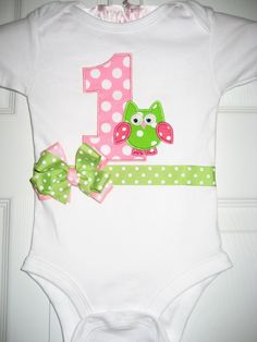 Boutique Owl 1st birthday one piece by PolkaDotCloset on Etsy, $18.00