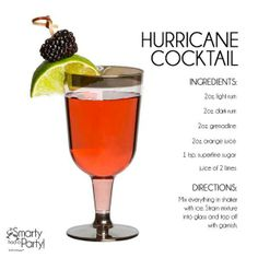 Hurricane Cocktail - this fruity drink was invented in New Orleans during World War II and is a signature of Mardi Gras celebrations everywhere! But beware...it's known to pack some punch.
