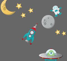 Spaceship Wall Decal  Childrens Fabric by StudioWallStickers, $78.00